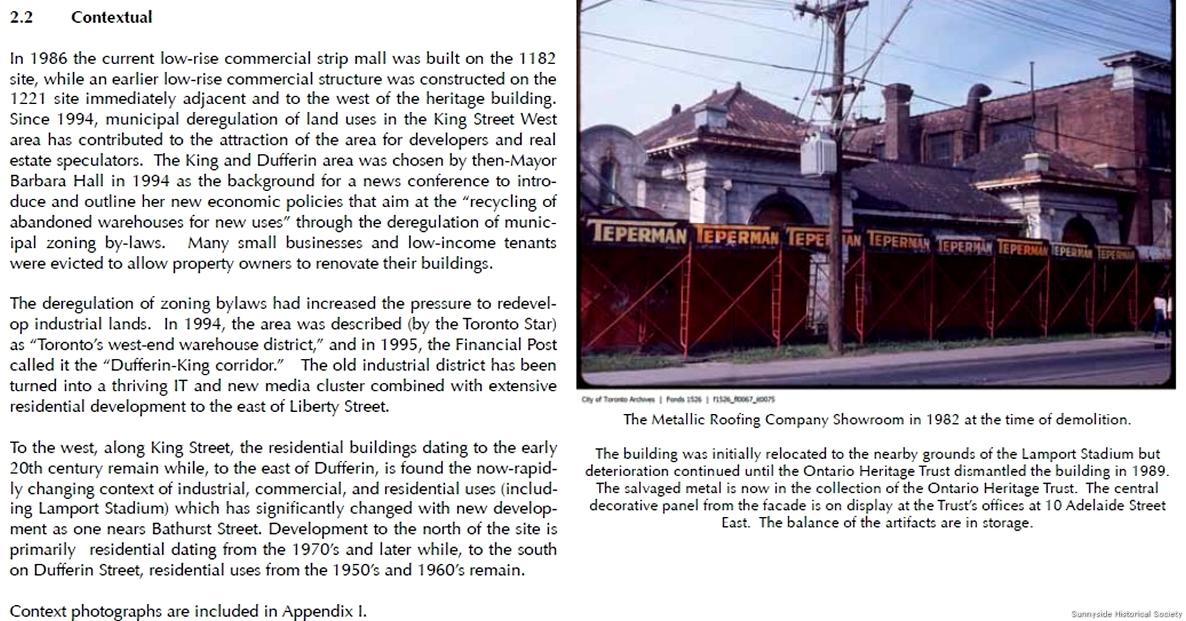 King And Dufferin 1850 To 2000 Sunnyside Historical Society