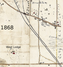 Brockton in 1868. There is a Tole Booth at Brock and Queen in future Parkdale.