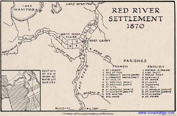 1870 Red River flash point. Land resurveyed over existing Metis farms