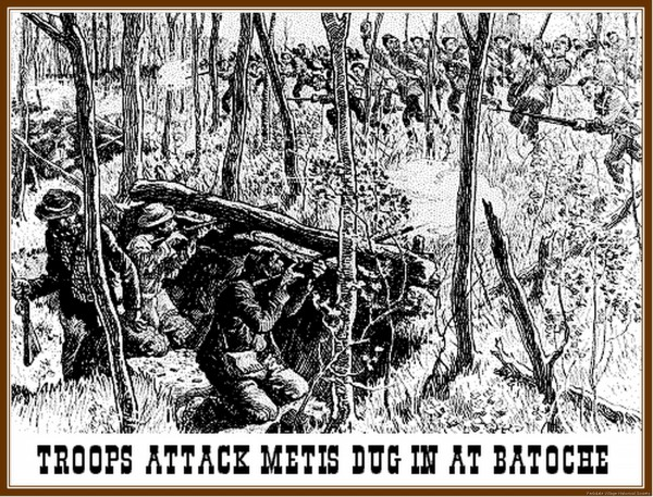 1885 The Battle of Batoche. Outnumbered, but well prepared, the Metis held off the Cdns till ammo ran out