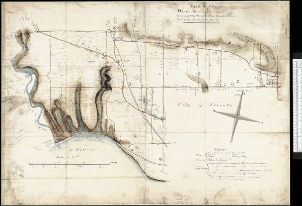1850 Rail line was built across Sunnyside Beach. Map of 1868 Gehle Hassard Sketch