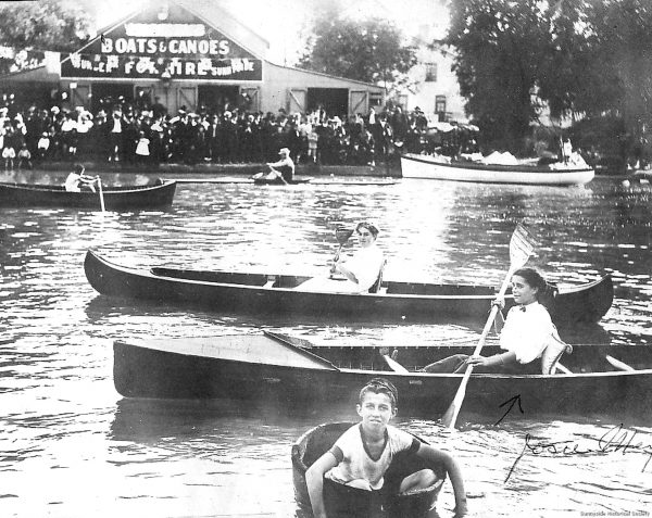 1912-1910 on the Humber River in Toronto, Ontario with several decked canoes included
