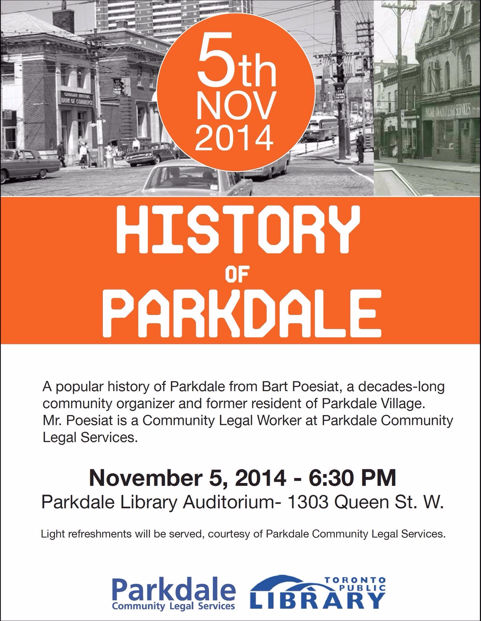 History of Parkdale, Nov 5, 2014 6:30 Library Auditorium
